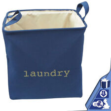 Pop Up Laundry Basket Tall Blue Collapsible Washing Clothes Hamper Fabric