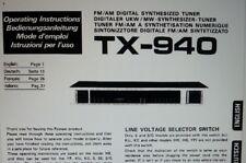 manuale utente sintonizzatore TX-940 hifi stereo pioneer carta formato a4