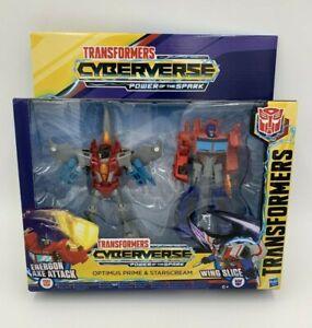 Transformers Cyberverse Optimus Prime & Starscream Action Figures Brand New