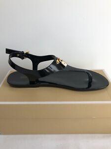 MICHAEL KORS Black Lock Charm MIRA JELLY Thong Sandal Size 8
