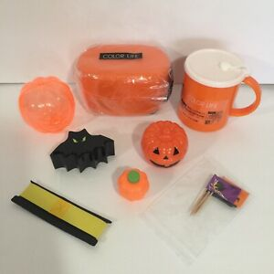 Bento Box Lunch Kit Lot With Orange Bento, Cup, Pumpkin Side Dish and More