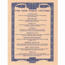 "Nine Noble Virtues Poster 8.5 x 11"" Parchment Print NEW Norse Pagan Heathen"
