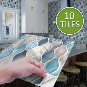 10pcs Blue Pearly Gloss Self-adhesive Bathroom Kitchen Wall Stair Tile Sticker