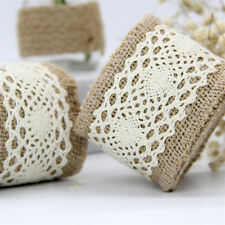 Cotton Linen Lace Ribbon Roll Vintage Handmade 2m Belt Wedding Bridal DIY Decor