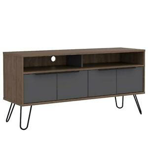 Two Tone Bleached Oak Widescreen TV Cabinet 4 Door Storage Metal Hair Pin Legs
