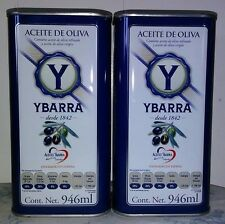 YBARRA 100% Pure Spanish Olive Oil ~ 2~31 oz. Tin Container~ Quality Product!