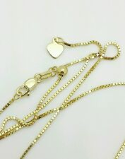 "10k Solid Yellow Gold Adjustable Box Necklace Pendant Chain Up to 22"" .85mm"