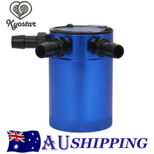3-Port Oil Catch Can Tank Alloy Racing Baffled Air-Oil Separator Universal Blue