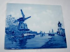 DELFT TILE PLAQUE PORCELAIN BLUE & WHITE WINDMILL SCENE