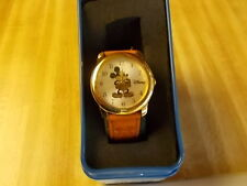 NEW OLD STOCK DISNEY MICKEY MOUSE WATCH GOLD TONE LEATHER BAND