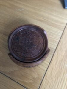 wooden coasters with holder Made In India