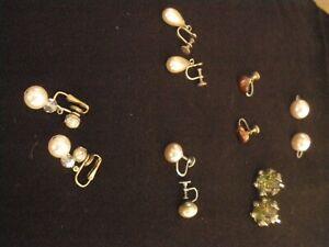 Vintage - Retro Faux Pearl & Coloured Stone Screw & flip back earrings - 6 Pairs