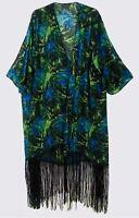 Ladies Long Kimono Size 14/16 Tropical Leaf Print Black tassel fringe (A060)