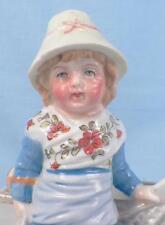 Antique Match Striker Girl & Boat Victorian Porcelain Holder Scarce