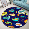 Funny Words Round Flannel Mat Floor Decor Area Rug Anti-Skid Carpet Luxury New