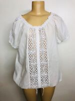 New White Crochet Lace Peasant Cotton Blouse Shirt Summer Top Boho Plus 3X