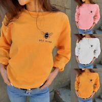 Women Girl Autumn Fashion Sweatshirts Bee Kind Letter Print Casual Loose Blouses