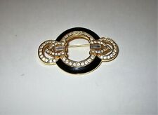 Jewelry Art Deco style Brooch Pin Black Enamel and Clear Rhinestones