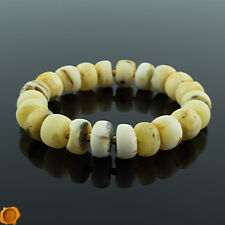 Rare White Baltic Amber and Gold Adult Beaded Bracelet for Men Women