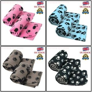 2 Pack SOFT COZY WARM FLEECE PAW PRINT PET BLANKET DOG PUPPY ANIMAL CAT BED