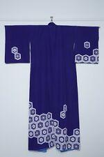 1970's Vintage Japanese Kikkō blue vegan synthetic houmongi kimono