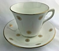 Vintage English Castle Bone China Staffordshire Cup & Saucer Gold Sun