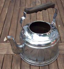 Kupferkessel verchromt 2,5 Liter Holzgriff, 22 cm Dm, Kupferboden antik vintage