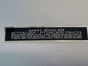 Barry Bonds Engraved Nameplate For A Signed Baseball Jersey Case 1.5X6