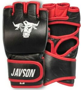 MMA Boxing Gloves Leather Grappling Punching Training Sparring Fighting - Javson