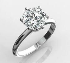 1.50 CT  NATURAL DIAMOND ENGAGEMENT RING ROUND CUT D VS2 14K WHITE GOLD