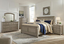 Cottage Light Gray Solid Wood 5 pieces Bedroom Set w/ Queen Size Panel Bed IA0Q