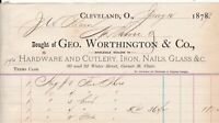U.States 1879 Geo Worthington Cleveland Cutlery Glass Nails Etc Receipt Rf 38618