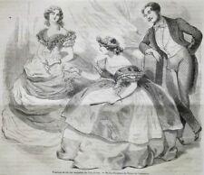 GRAVURE 1859 MODE TOILETTES DE BAL ROBES DE SOIREE FEMMES + SMOKING HOMMES