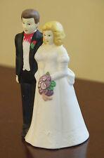 """VINTAGE WEDDING CAKE TOPPER PORCELAIN BISQUE 4.5"""" H BLONDE BRIDE BRUNETTE GROOM"""