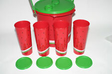 TUPPERWARE RARE Watermelon Handle Canister Pitcher Straight Tumbler Beverage Set