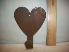 Vintage Heart Shaped Rusty Tin Metal Wall Hook Peg Coat Key Hanger Primitive 5