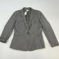 NWT Gap Blazer Jacket Women's 12 Long Sleeve Gray Notch Lapel One-Button Front