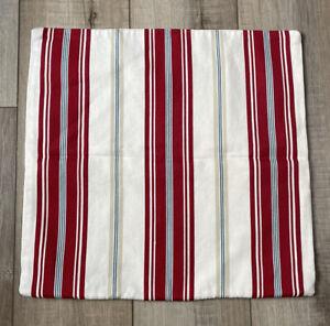 "Pottery Barn 100% Cotton Red Ivory Stripe Pillow Cover Zipper Closure 18x18"" EUC"