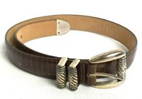 Brighton Womens Size Small Brown Textured Leather Silver Hardware Belt 47109