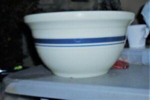 "Roseville Friendship Pottery Roseville Ohio 2 Blue Stripe 12"" 6 Qt. Mixing Bowl"