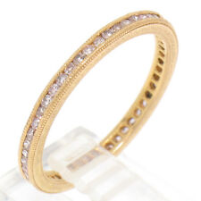 Vintage 18k Rose Gold Single Cut .70ctw Diamond Channel Set Etched Eternity Band