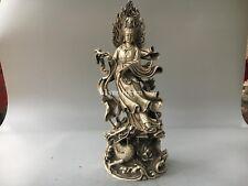 17'' tibetan bronze silver carved lotus buddha Guanyin Avalokitesvara on dragon