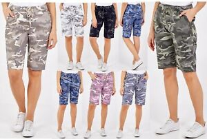 LADIES ITALIAN STRETCH CAMOUFLAGE ARMY PRINT HOT PANT MAGIC SHORTS NEW