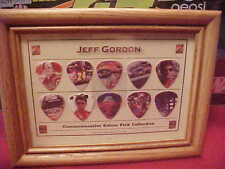 New Jeff Gordon Commemorative 10 Guitar Picks Collection In Wooden Frame
