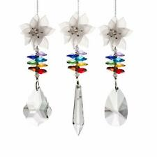 LONGWIN 3pcs Crystal Suncatcher White Plastic Flower Ornament Hanging Pendant