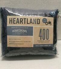 Heartland® HomeGrown™ 400-Thread-Count Sateen Full Sheet Set Solid Blue Jean