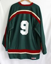 Vintage Hockey Jersey Size XL HCBA CCM Green Red Number 9 Made In Canada