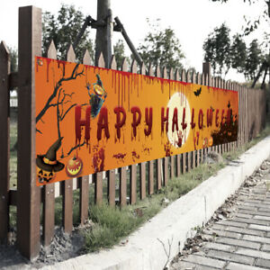 Halloween Banner Pull Flag Party Celebrate Foldable Hanging Home Outdoor Decor