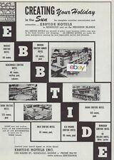 EBBTIDE HOTELS HAWAII WAIKIKI BEACH-BEACHWALK-KONA-KAUAI-HILO-ALA MOANA 1960 AD