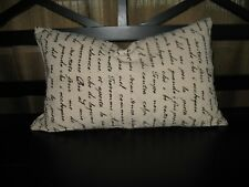 """French Decor:  Down Filled French Print Pillow w/ zippered cover ~20"""" X ~12"""""""